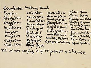 "Рукописный текст песни ""Give Peace a Chance"" Джона Леннона выставлен на аукцион"