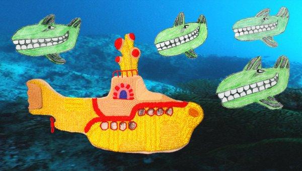 Yellow Submarine. Рисунок с сайта http://blog.thelonebeader.com/2008/02/whale-of-sketch.html