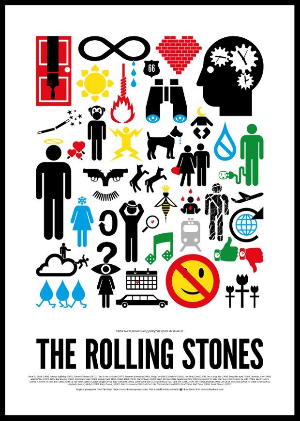 Песни легенд рок-музыки изобразили в виде пиктограмм
