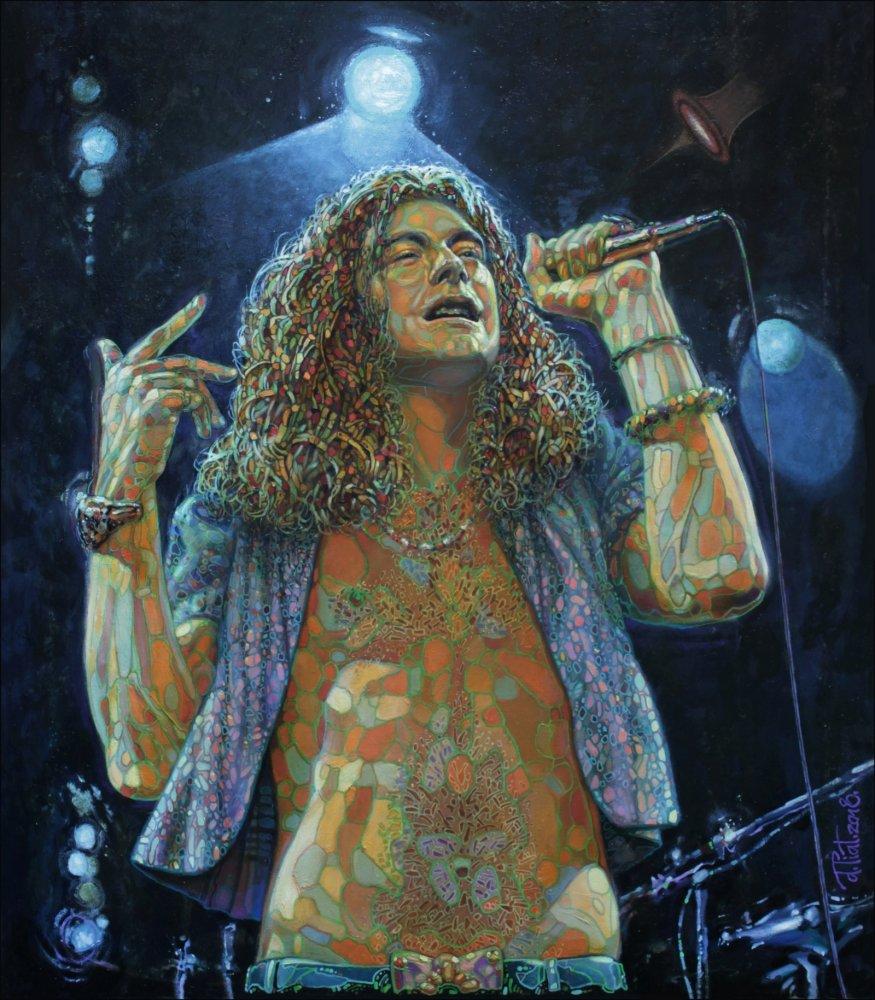 Уральский художник Александр Выгалов продолжает создавать портреты своих рок-кумиров в стиле 'полигональной живописи'. Новая работа 'Плантомагия' (80х70см, холст, масло) изображает вокалиста Led Zeppelin Роберта Планта образца 1973 года.